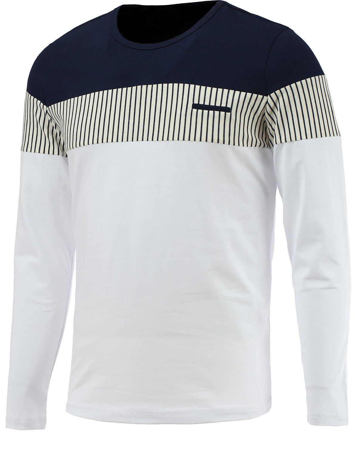 Cheap Brief Color Blocks Spliced Round Neck Long Sleeve Tee For Men