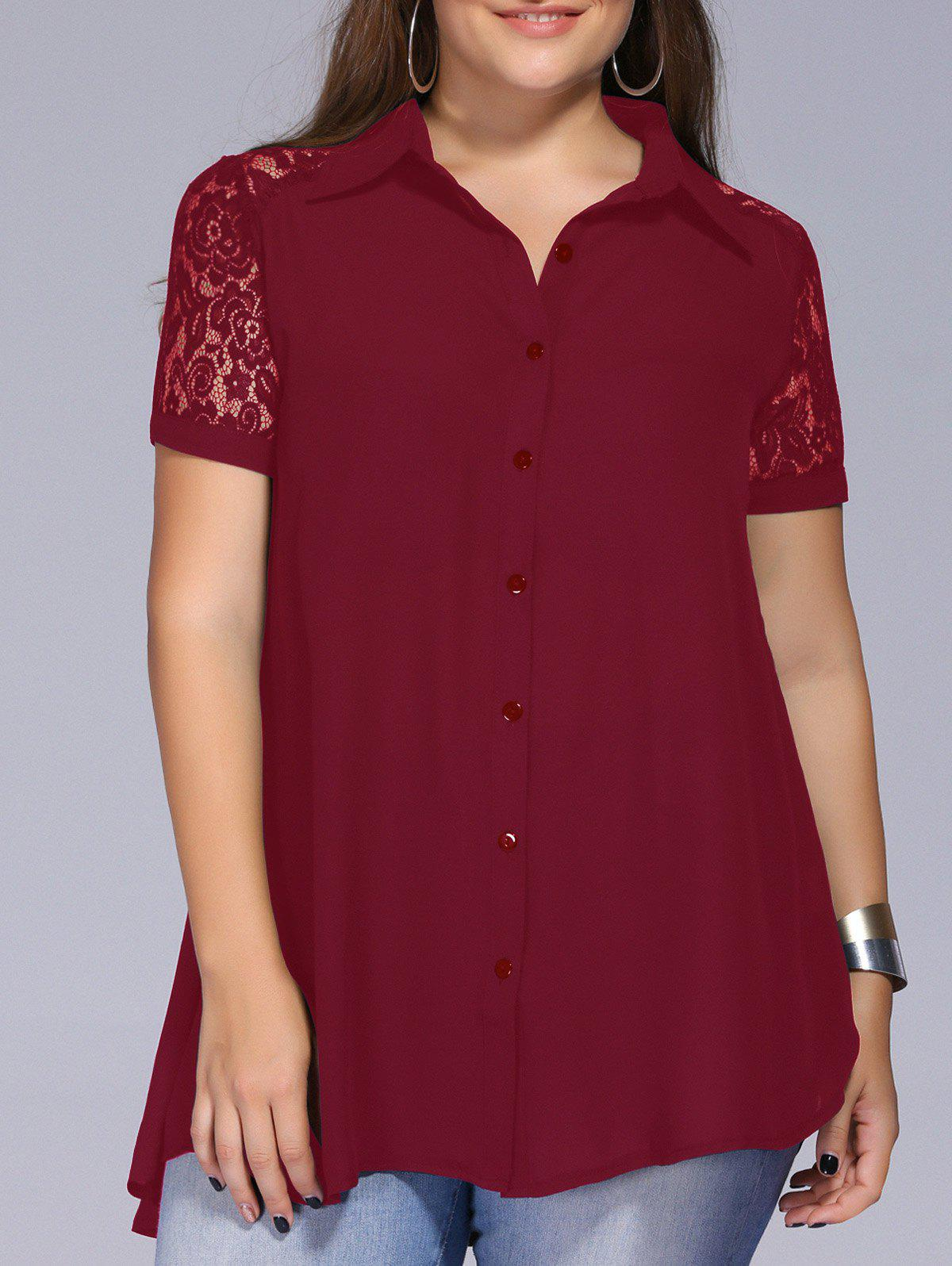 f11cc16a 83% OFF] Lace Trim Plus Size Tunic Blouse | Rosegal