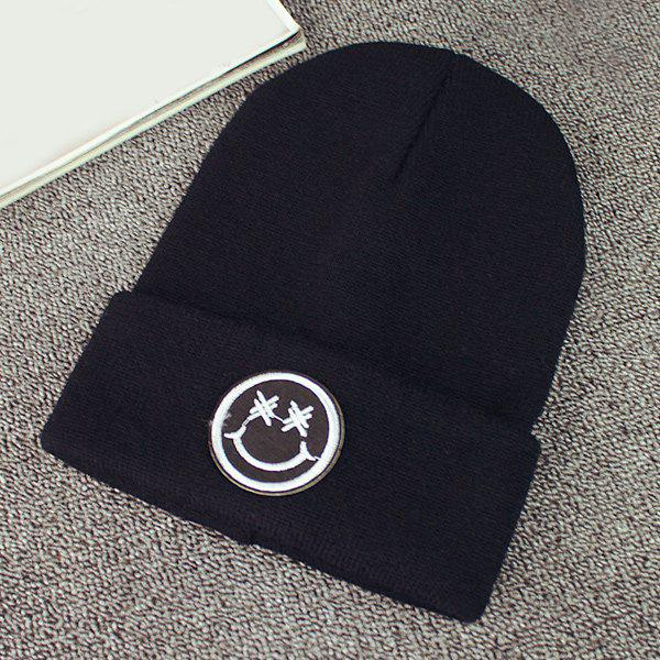 Online Warm Smile Face Embroidery Label Knit Beanie