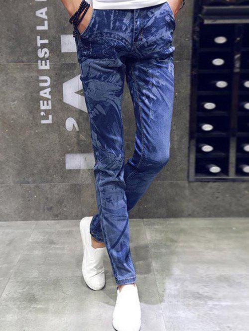 Animal design Zipper volants Slim Fit Jeans Bleu 29
