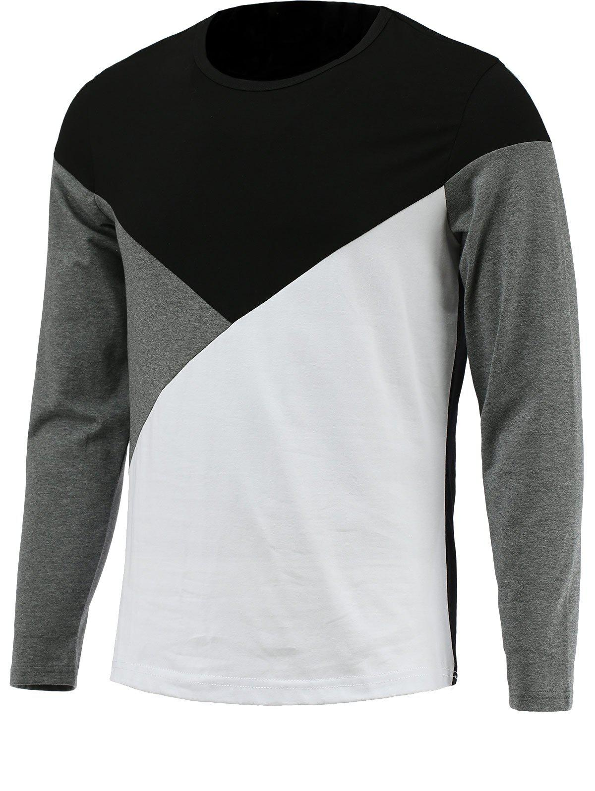 Round Neck Long Sleeve Color Block TeeMEN<br><br>Size: M; Color: BLACK; Material: Cotton Blends; Sleeve Length: Full; Collar: Round Neck; Style: Casual; Pattern Type: Solid; Season: Fall,Spring; Weight: 0.256kg; Package Contents: 1 x T-Shirt;