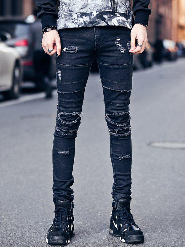 Hot Zipper Fly Frayed Knee Patches Skinny Ripped Jeans