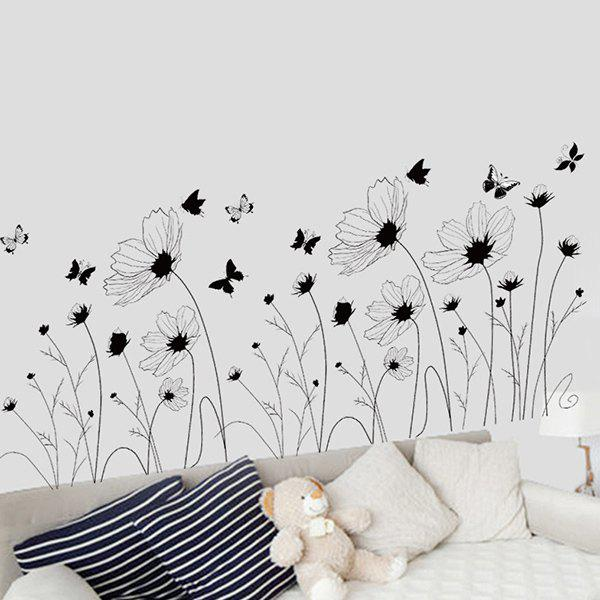 Removable High Quality Simple Floral Decorative Wall Art StickerHOME<br><br>Color: INK PAINTING; Wall Sticker Type: Plane Wall Stickers; Functions: Decorative Wall Stickers; Theme: Florals; Material: PVC; Feature: Removable,Washable; Size(L*W)(CM): 60*90; Weight: 0.375kg; Package Contents: 1 x Wall Sticker;