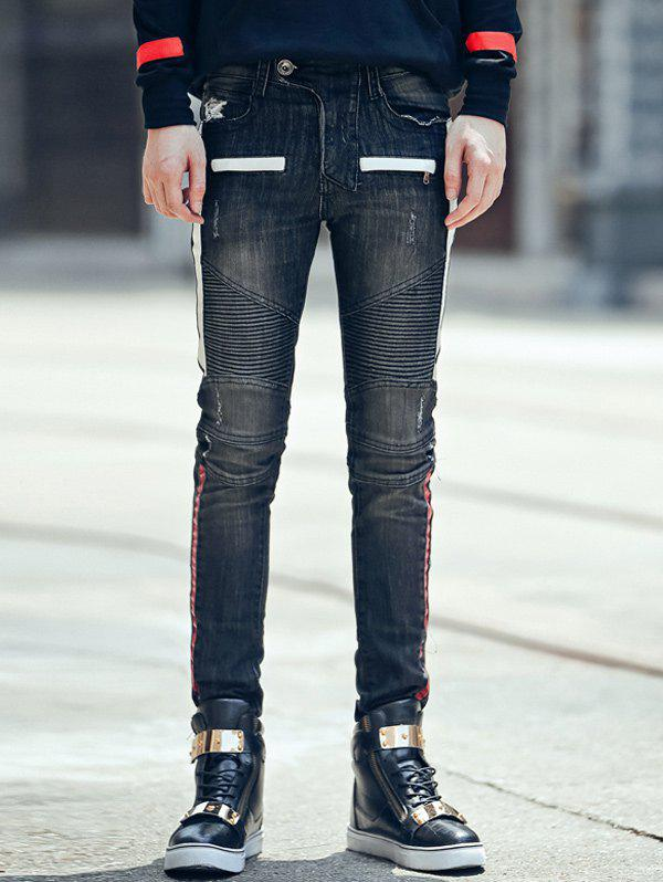 Trendy Zipper Fly Crinkly Spliced Skinny Scrtched Jeans