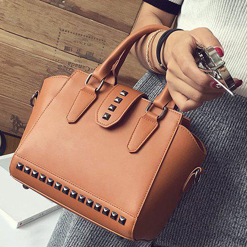 Rivet Winged HandbagSHOES &amp; BAGS<br><br>Color: BROWN; Handbag Type: Totes; Style: Fashion; Gender: For Women; Embellishment: Rivet; Pattern Type: Solid; Handbag Size: Small(20-30cm); Closure Type: Zipper; Interior: Cell Phone Pocket; Occasion: Versatile; Main Material: PU; Weight: 0.776kg; Size(CM)(L*W*H): 22*13*20; Strap Length: Short:12CM, Long:120CM (Adjustable); Package Contents: 1 x Tote Bag;