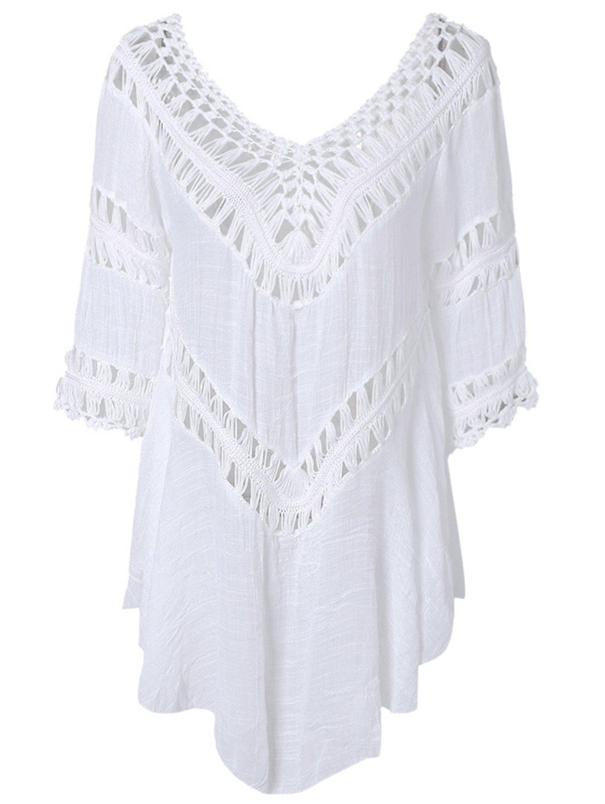 Plunge V Neck See-Through Crochet Tunic TopWOMEN<br><br>Size: ONE SIZE; Color: WHITE; Style: Fashion; Material: Polyester; Shirt Length: Long; Sleeve Length: Three Quarter; Collar: Plunging Neck; Pattern Type: Solid; Embellishment: Hollow Out; Season: Fall,Spring,Summer; Weight: 0.211kg; Package Contents: 1 x Blouse;