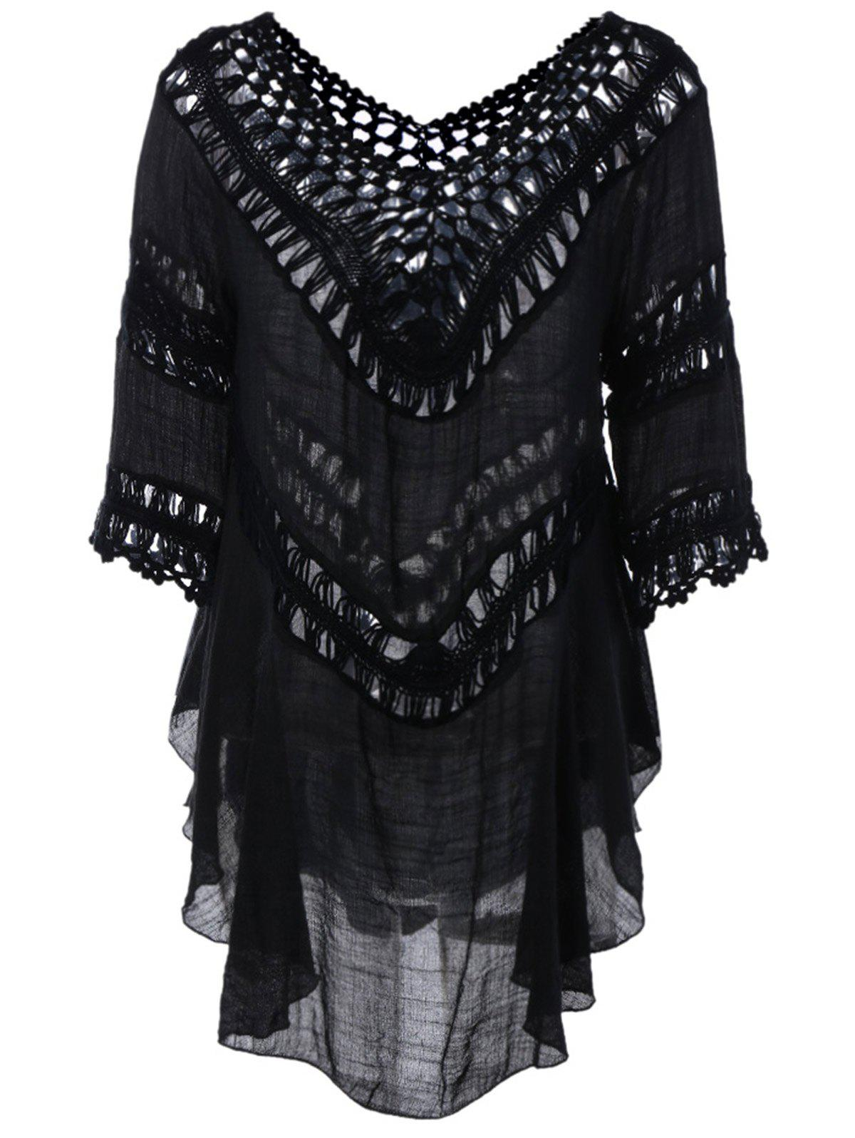 Plunge V Neck See-Through Crochet Tunic TopWOMEN<br><br>Size: ONE SIZE; Color: BLACK; Style: Fashion; Material: Polyester; Shirt Length: Long; Sleeve Length: Three Quarter; Collar: Plunging Neck; Pattern Type: Solid; Embellishment: Hollow Out; Season: Fall,Spring,Summer; Weight: 0.211kg; Package Contents: 1 x Blouse;