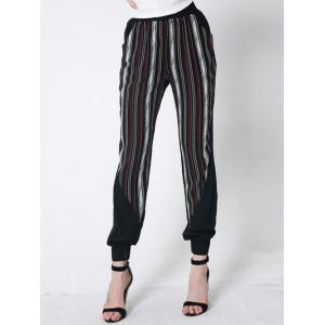 Striped Casual Harem Jogger Pants - Black - S