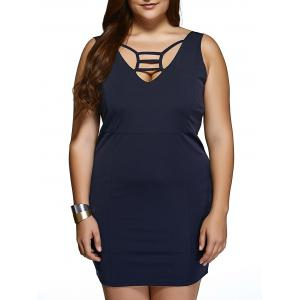 Plus Size Cut Out Sheath Mini Club Dress - Purplish Blue - Xl