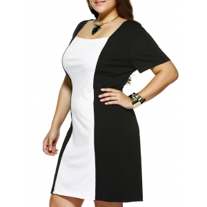 Plus Size Square Collar Color Block Dress - White And Black - 4xl