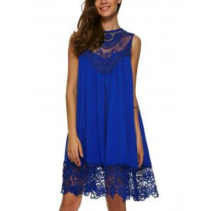 Lace Panel A Line Casual Swing Dress