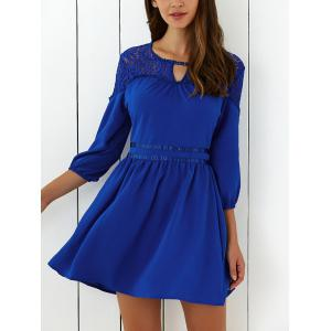 Lace Insert Mini Flare Cocktail Dress