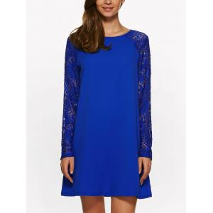 Long Sleeve Lace Jewel Neck Dress - Sapphire Blue - S