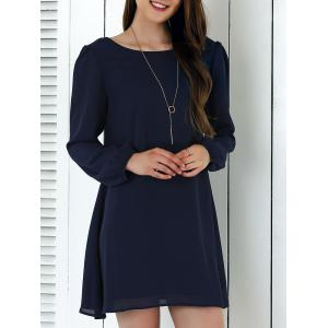 Criss-Cross Long Sleeve Chiffon Dress