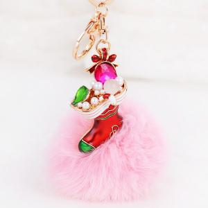 Christmas Shoes Chuzzle Faux Gem and Pearl Decorative Keyring - Pink - Style 4