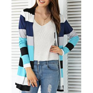 Open Front Colorful Striped Cardigan