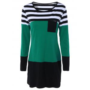 Long Sleeve Hit Color Striped Dress - Green - Xl