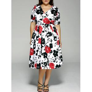 Plus Size High Waist Floral Surplice Dress - Black And White And Red - 3xl