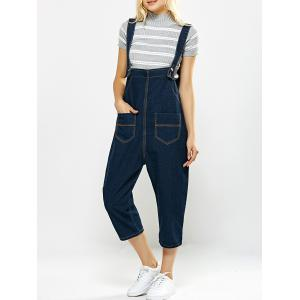 Loose-Fitting Pockets Design Drop Crotch Denim Capri Overalls - Blue - S