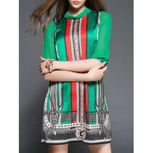 Ethnic Print Tied-Up Shift Dress