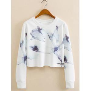 Abstract Ink Panting Cropped Long Sleeve Sweatshirt