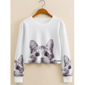 Kitty Pattern Cropped Long Sleeve Sweatshirt