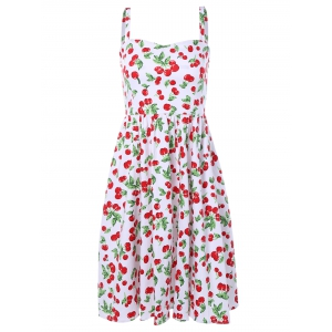 Cherry Print Spaghetti Strap Flare Dress - White - S