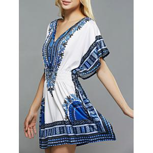 Ethnic Style Totem Print Shirred Waist Dress