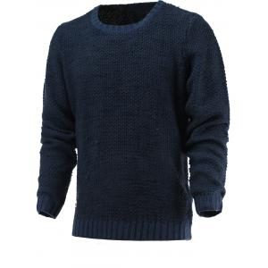Brief Style Round Neck Long Sleeve Sweater - Deep Blue - S