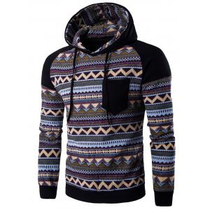 Color Block Tribal Printed Pocket Hooded Raglan Sleeve Hoodie - Black - 2xl