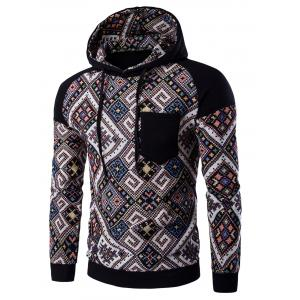 Ethnic Style Abstract Print Pocket Hooded Raglan Sleeve Hoodie