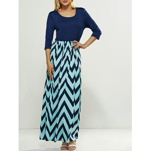 Zig Zag Striped Maxi Dress - Purplish Blue - Xl