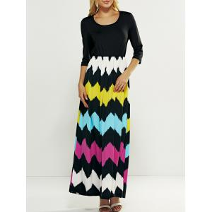Hit Color Zig Zag Pattern Maxi Dress - Black - S