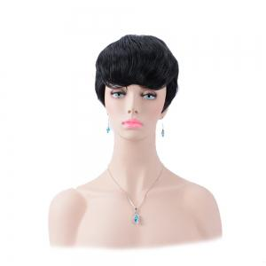 Ultrashort Straight Oblique Bang Boy Cut Heat Resistant Fiber Wig