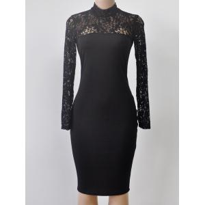 Turtleneck Long Sleeve Lace Spliced Sheath Dress - Black - S