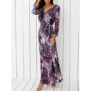 V Neck Cheetah Print Long Maxi Boho Dress - Purple - S