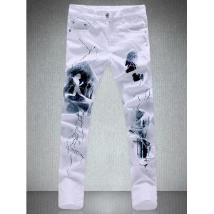 Zipper Fly Pocket Design Printed Slim-Fit Pants