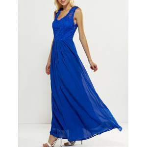 Maxi Lace Panel Long Swing Wedding Guest Dress - Blue - M