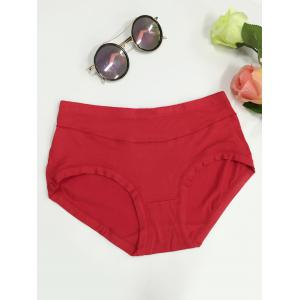 High Waist Stretchy Briefs - Red - L