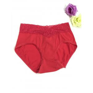 Lace Panel High Waisted Briefs - Red - M