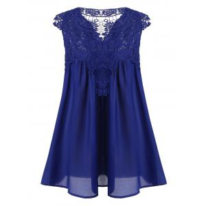 Sleeveless Lace Splicing Draped Blouse