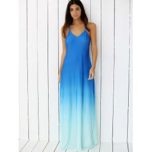 Ombre Backless Slip Trapeze Maxi Dress - BLUE L