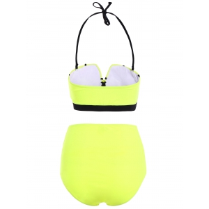 Halter High Waisted Neoprene Bikini Set -