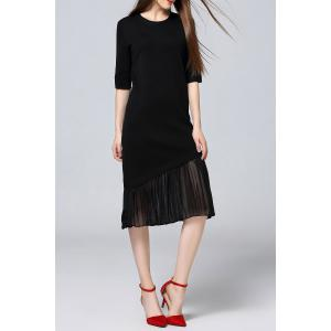 Pleated Sweater Midi Dress - BLACK ONE SIZE(FIT SIZE XS TO M)