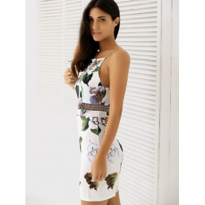 Spaghetti Strap Backless Floral Bodycon Summer Dress -