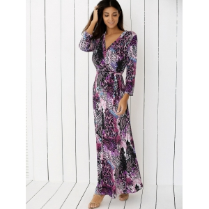 V Neck Cheetah Print Long Maxi Boho Dress - PURPLE XL