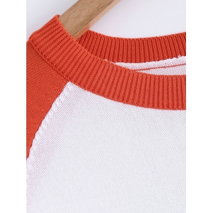 Ribbed Round Neck Raglan Sleeve Slit Knitted T-Shirt -