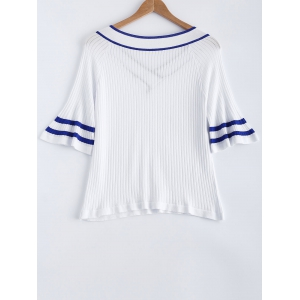 Stripe Flare Sleeve V-Neck Ribbed Knitted T-Shirt -