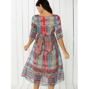 Bohemian Tribal Print Chiffon Dress -