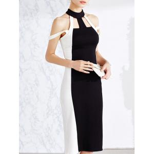 Cold Shoulder Cut Out Bodycon Bandage Midi Prom Dress -